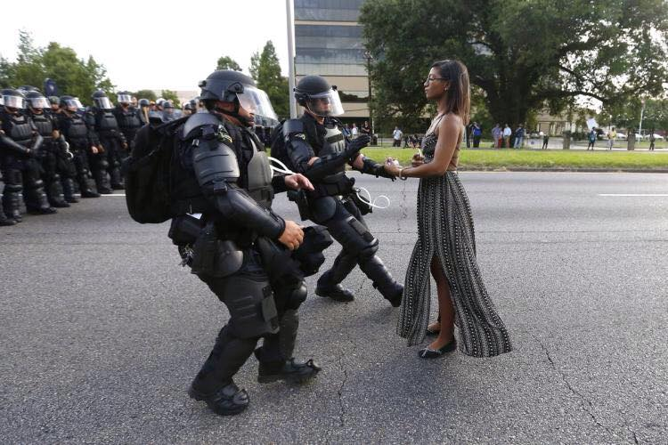 Photo by Jonathan Bachman. According to the Atlantic article from which I cadged this photo, a number of readers sided with the police.